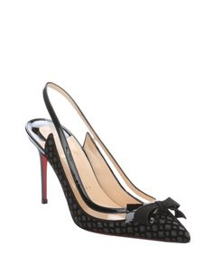 Christian Louboutin black flocked glitter 'Suspenodo' slingbacks
