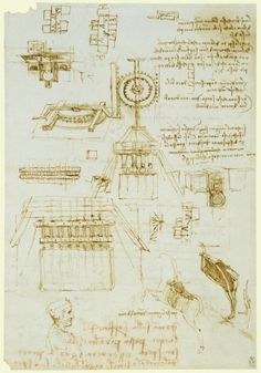 Leonardo da Vinci (Vinci 1452-Amboise 1519).  These are Leonardo's technical designs for the casting apparatus for the Sforza monument. At top left and centre right the horse is drawn schematically as a cylinder, upside-down and with legs pointing upwards. In the end the cast was never made, as the bronze set aside for the monument was claimed for military purposes and used to make cannon. In the Royal Collection Trust