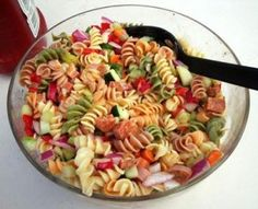 Ingredients  1 bag dried multi-colored spiral shaped pasta 1 cucumber, diced with peels on 1 package pepperoni, quartered