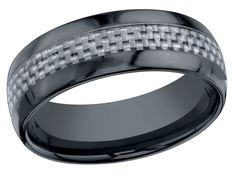 A perfect gift for that special man in your life. This black ceramic 8 mm domed band has a silver/white carbon fiber inlay. Very cool!  $199.99