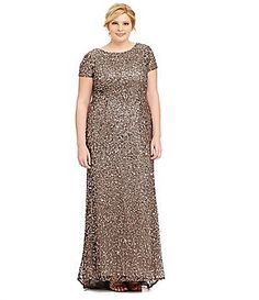 3d0c8ccc113 Adrianna Papell Plus Short-Sleeve Sequined Gown Plus Dresses