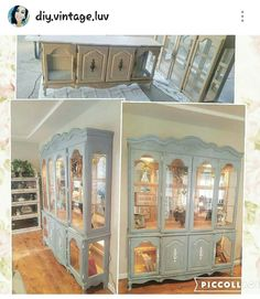 Chalk painted before and after . Shabby chic french provincial hutch . Follow IG @diy.vintage.luv