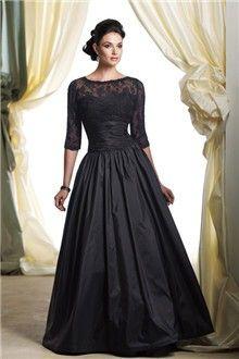 A-Linie/Princess-Linie Juwel-Ausschnitt Bodenlang Taft Brautmutterkleider