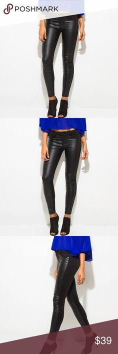 """~LEATHER PANEL PONTE KNIT MID RISE SKINNY PANTS~ ~ARRIVED!~  ~You will find yourself in these faux leather pants every other day if not everyday!  ~They are so comfortable, easy wearing, stylish, chic and literally go with anything in your wardrobe!  ~Not only great for the office, rock these pants with heels and a cute top for going out!  ~Runs true to size!  ~Stretchy!  ~Model is 5'9"""" ~Waist is 25.5"""" ~Hips are 36""""  ~Modeling a size 5  ~Please feel free to ask any questions you may have…"""