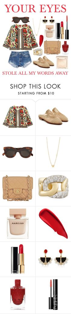 """""""👁"""" by theodor44444 ❤ liked on Polyvore featuring Levi's, Robert Clergerie, CÉLINE, Sydney Evan, Chanel, Pomellato, Narciso Rodriguez, Sisley, Lalique and NARS Cosmetics"""