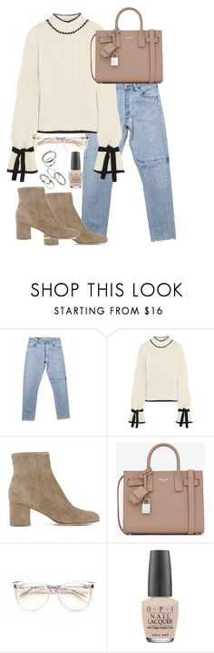 """""""Untitled #3056"""" by theeuropeancloset ❤ liked on Polyvore featuring J.W. Anderson, Gianvito Rossi, Yves Saint Laurent, Wildfox, OPI and MANGO"""