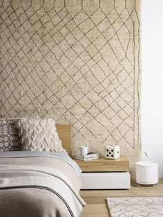 Rug as headboard- a luxe look. via The Design Files Elle Decor, Home Bedroom, Bedroom Decor, Bedrooms, Winter Bedroom, Bedroom Ideas, Bedroom Wall, Serene Bedroom, Bedroom Rugs