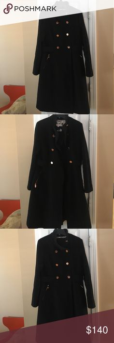 Eliza J military style coat Black coat with a full skirt and rose gold colored buttons Eliza J Jackets & Coats Pea Coats