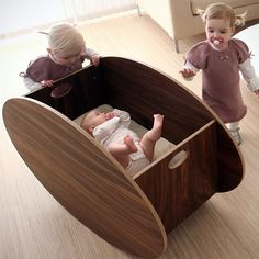 The So-Ro Walnut Cradle was created by designer and occupational therapist Ane Lillian Tveit, and has won awards for design excellence. Rocking a baby to sleep or getting it to start bawling becomes a whole lot easier because this is a cradle that is designed to allow for a forward rocking motion. http://thegadgetflow.com/portfolio/so-ro-walnut-cradle/