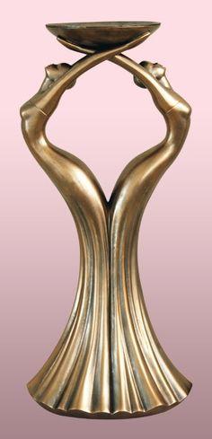 Faux Bronze - Twins candleholder figurine