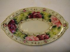 Vintage Hand Painted Nippon Moriage / Beaded Oval Dish