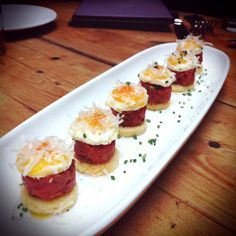 Tomato Tartare with a sunny side up quail egg at Beauty and Essex.