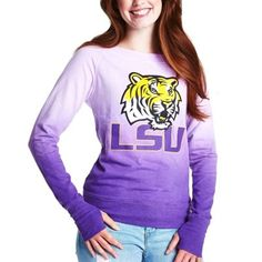 LSU Tigers Women's Dip Dye Boatneck Sweatshirt - White/Purple