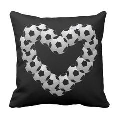 Heart of Soccer Ball Euro Futbol on Black Throw Pillow - valentines day gifts love couple diy personalize for her for him girlfriend boyfriend