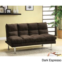Furniture of America Willow Beige Microfiber Sofa/ Futon | Overstock.com Shopping - Great Deals on Furniture of America Futons