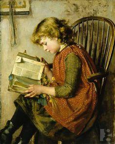 pintura de Charlotte J. Weeks - Young Girl Reading