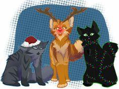 Jayfeather, Lionblaze and Hollyleaf - Warrior Cats Christmas Fanart