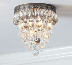 clarissa glass drop flush mount pottery barn $279.00 2nd option for pantry or powder room