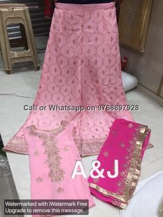 Shirt in pure georgett semistitched in very beautiful Badla work with stitched check style badla work sharara & pure georgett full jaal Bad...
