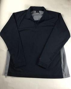 Nike Sphere React Golf Polo Long Sleeve Men's Blue Gray size XXL  #Nike #TShirt