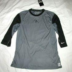 big sale 73964 723bc Nike Pro Combat Dri-FIT Swingman 3 4 Sleeve Fitted Baseball Shirt Mens L