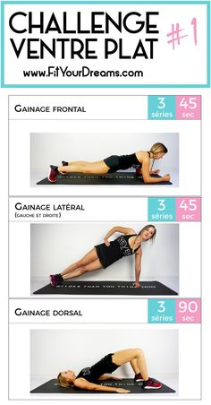 Le gainage pour un ventre plat (circuit PDF abnehmen - Fitness Herausforderungen, Fitness Workouts, At Home Workouts, Fitness Weightloss, Muscle Fitness, Fitness Nutrition, Physical Fitness, Fitness Goals, Track Workout