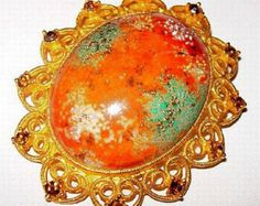 "Juliana Egg Pendant Orange Green Confetti Stone Topaz Rhinestones Gold Heart Scrolls 2.5"" Vintage"