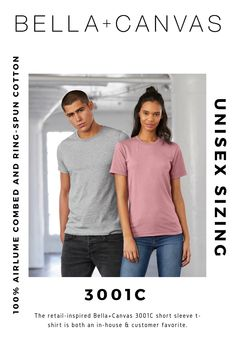 The retail-inspired Bella+Canvas short sleeve t-shirt is both an in-house & customer favorite. Made with side-seams and unisex sizing, the is the perfect option for men & women alike! Bella Canvas, Cricut, Short Sleeves, Retail, Unisex, Inspired, Cotton, Mens Tops, T Shirt