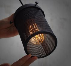 Hanging mesh pendant lamp is perfect for recreating rustic, industrial or warehouse spaces. The mesh subtly diffuses the glow from an exposed edison bulb Modern Industrial Decor, Industrial Pendant Lights, Industrial Loft, Pendant Lamp, Rustic Lighting, Interior Lighting, Cafe Lighting, Fan Light Covers, Ceiling Fan Makeover
