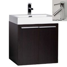 """23"""" Contemporary Bathroom Vanity Set with Cabinet, Sink and Faucet CB-T580-1-WG"""