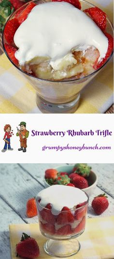 Layers of Angel Food Cake fresh strawberry slices, slightly sweet and tangy rhubarb sauce and homemade custard cream, all come together in this delicious and better for you version of a Strawberry Trifle!