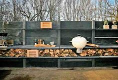 Outdoor kitchen - one day I want to make this for my house. Minus the shower and adding a cob oven.