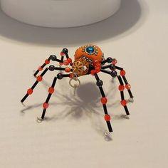 Beaded Spider Ornament | Etsy Christmas Spider, Halloween Spider, Ceramic Christmas Tree Lights, Beaded Spiders, Beaded Skull, Rear View Mirror, Metal Beads, Black Glass, Cringe
