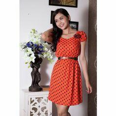 K&K Fashion KK36-11 - Đầm công sở / Cam chấm bi đen
