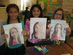 math meets art - symmetry self portraits!- have students use rulers to get measurements on both sides as accurate as possible!