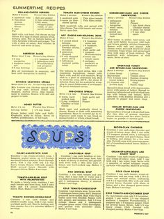 """""""The Woman's Day 1954 Summertime Cook Book"""" Sandwich, Spread + Soup Recipes from… Retro Recipes, Old Recipes, Vintage Recipes, Cookbook Recipes, Cooking Recipes, Family Recipes, Dessert Recipes, Vintage Cooking, Old Fashioned Recipes"""