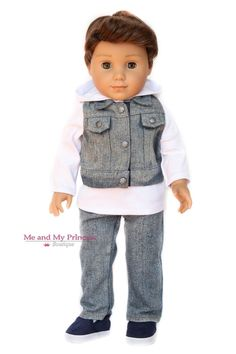 Denim Vest, Distressed Jeans and Hooded Short for American Boy Doll Clothes Boy Doll Clothes, Crochet Doll Clothes, Crochet Baby Shoes, Doll Clothes Patterns, Doll Patterns, Sewing Patterns, American Boy Doll, American Girl Crochet, Junior Outfits