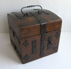 Wonderful Fitted Iron Hardware 19th Century Doctor's Box Apothecary Chest