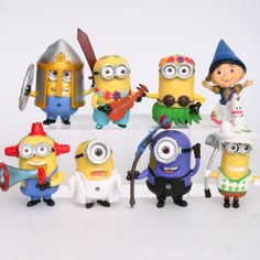 8 Despicable Me Minions Cake Toppers Set by jenuinecraftsandmore