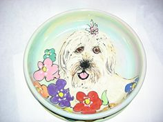 Water Bowl 8 Dog Bowl for Food or Water Personalized at no Charge Signed by Artist Debby Carman ** For more information, visit image link. (This is an affiliate link) Animal Design, Dog Design, Custom Dog Houses, Ceramic Dog Bowl, Rhinestone Dog Collar, Designer Dog Beds, Bearded Collie, Dog Boutique, Dog Blanket