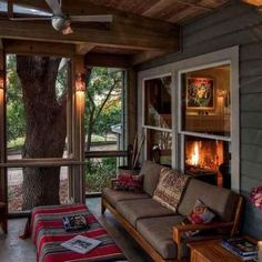 A screened in porch is an affordable and practical way to add extra space to a tiny house.