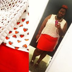 quayla_venezuela's photo on Instagram. Skirt. Prints. Hearts. Knitted vest. Natural hair