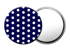 M043 Navy Polka Dot HANDHELD COMPACT MIRROR with Luxury Pouch: Amazon.co.uk:  These lightweight and generously sized mirrors are the ideal accessory for applying your makeup. Pop them into your handbag or an excellent gift for her.  http://magoomirrors.co.uk/