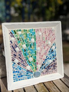 Vintage Salvaged Abstract mosaic tray by BelievesMosaics on Etsy Mosaic Tray, Mosaic Tiles, Mosaics, Crazy Lace Agate, Antique Stores, Vintage China, Flower Petals, All Design, Stained Glass