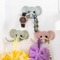 Dễ thương Elephant Nhựa Chìa Khóa Trang Trí Chủ Kệ Tường Giá Móc Nhà Lưu Trữ Organizer Phòng Tắm Nhà Bếp Phụ Kiện