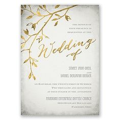Gold faux-foil boho-themed wedding invite. From invitations by Dawn.  #elegant #modern