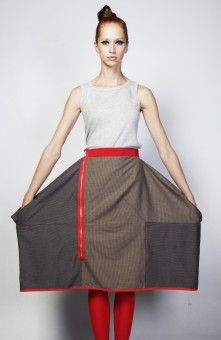 Skirt by Trash to Trend made out of leftover fabric remains from the garment industry. Inspired by the game Tetris, all the patterns for products are the shapes of the Tetris game.