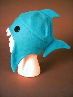 fleece shark hat. No free pattern but cute idea