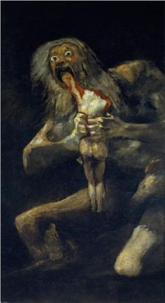 "Saturn Devouring His Son - Francisco Goya.  1819-23.  Oil on plaster, mounted on canvas.  57 1/2 x 32 3/4"".  Museo del Prado, Madrid, Spain."