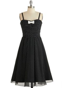 Laudable Dots Dress. #black #modcloth Needs a layering top to make it modest!